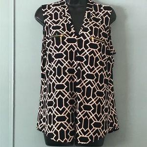 Large Giraffe Geometric Black Brown sleeveless top
